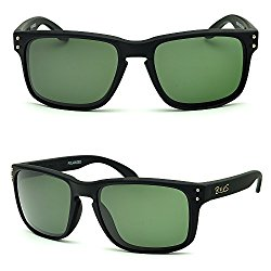 BNUS sunglasses for men work polarized glass lenses green (Frame: Matte Black, Polarized Green G15)