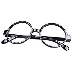 FancyG Retro Geek Nerd Style Round Shape Glass Frame NO LENSES – Black
