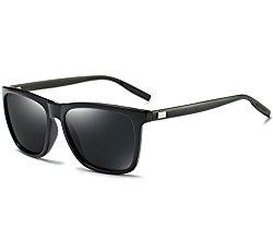 Joopin Unisex Polarized Sunglasses Classic Men Retro UV400 Brand Designer Sun glasses (Black Aluminum Legs, as the pictures)