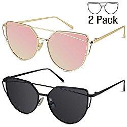 LIVHO G | Cat Eye Mirrored Flat Lenses Street Fashion Metal Frame Women Sunglasses (GOLD PINK+BLACK GRAY)