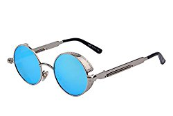 MERRY'S Gothic Steampunk Sunglasses for Women Men Round Lens Metal Frame S567(Silver&Blue, 46)
