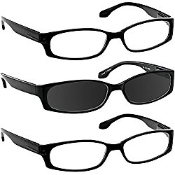 Reading Glasses 1.50 2 Black 1 Black Sun (3 Pack) F503 TruVision