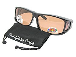 Style F11 Polarized Fit Over With Sunglass Rage Carrying Pouch (Black-Amber Lens)