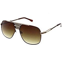 sunglassLA – Oversized Aviator Sunglasses Perforated Triple Crossbar Square Lens 60mm (Brown Gold / Amber)