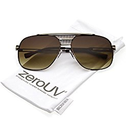 zeroUV – Oversize Perforated Triple Crossbar Square Lens Aviator Sunglasses 60mm (Brown Gold / Amber)