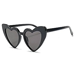 MINCL/New Fashion Love Heart Sexy Shaped Sunglasses For Women Girls Brand Designer Sunglasses UV400 (black)
