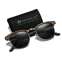 AEVOGUE Polarized Sunglasses Semi-Rimless Imitation woodgrain Frame Brand Designer AE0369 (Woodgrain&Black, 48)