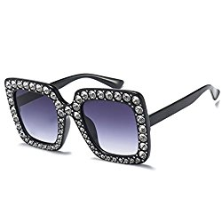 Armear Luxury Crystal Women Sunglasses Oversized Square Gradient Shades (Grey gradient lens, 67)
