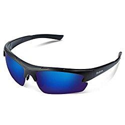 Duduma Polarized Designer Fashion Sports Sunglasses for Baseball Cycling Fishing Golf Tr62 Superlight Frame (black matte frame with blue lens)