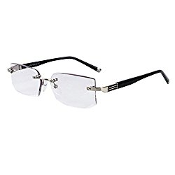 Inlefen Men Eyewear Gradient gray Lens Frameless Reading Glasses +1.0 to +4.0