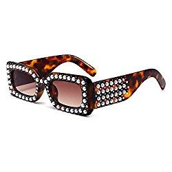 MINCL/2018 Hot Sale Oversized Diamond Sunglasses Womens Square Luxury Brand Designer Eyewear UV400 (leopard)