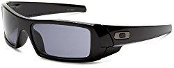 Oakley Men's Gascan Rectangular Sunglasses, Polished Black/Grey, 60 mm