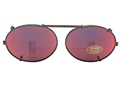 Oval Color Mirror Gray Lens Non Polarized Clip On Sunglasses (Pewter-Red Mirror Gray Lens, 51mm Width x 37mm Height)