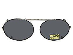 Oval Non Polarized Gray Lens Clip On Sunglasses (Black Frame-NON Polarized Gray Lens, 53mm x 39mm)