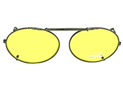Oval Yellow Lens NON Polarized Clip On Sunglasses (Black Frame-Yellow Lenses, 51mm Width x 37mm Height)