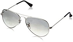 Ray-Ban 3025 Aviator Large Metal Non-Mirrored Non-Polarized Sunglasses, Silver/Light Grey Gradient (003/32), 58mm