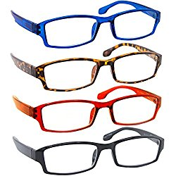 Reading Glasses 5.00 Black Blue Red Tortoise (4 Pack) F501 TruVision