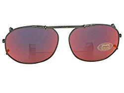 Round Square Color Mirror Gray Lens Non Polarized Clip on Sunglasses (Pewter-Red Mirror Gray Lens, 50mm Width x 38mm Height)