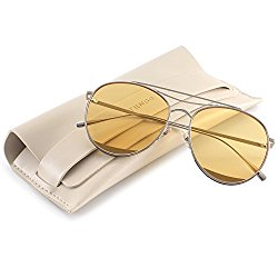 TRSELLWIER Round Frame Flat Lenses Novelty Teardrop Design Fashion Metal Frame Women Sunglasses ODD Style – Yellow