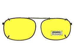 Rectangle NON Polarized Yellow Lens Sunglasses (Pewter-NON Polarized Yellow Lens, 58mm Width x 42mm Height)