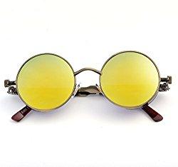 Steampunk Gothic John retro Sunglasses for Men Women Metal Frame Round Lens … (Yellow Lens/Gold Frame)