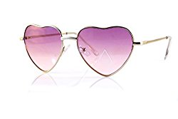 FBL Cupid Valentine Heart Lovely Ocean Color Spring Hinge Sunglasses A116 (Silver/ Light Purple)