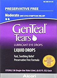 GenTeal Tears Lubricant Eye Drops, Moderate Liquid Drops, 36 Sterile, Single-Use Vials, 0.9-mL Each