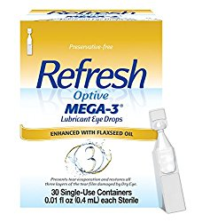 Refresh Optive Mega-3 Lubricant Eye Drops, 30 Single-Use Containers, 0.01 fl oz (0.4mL) each Sterile