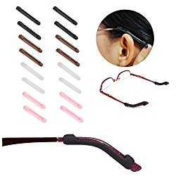 10 Pairs Temple Tips Eyewear Comfort Silicone Glasses Ear Hooks, Soft Silicone Anti-Slip Ear Pads Eyeglasses Sleeve Retainer, 5 Colors
