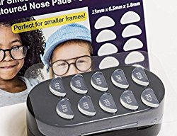 GMS Optical® 1.8mm x 13mm Short Anti-slip Adhesive Contoured Silicone Eyeglass Nose Pads – Perfect for Kids Glasses and Smaller Frames – 5 Pair (Clear)