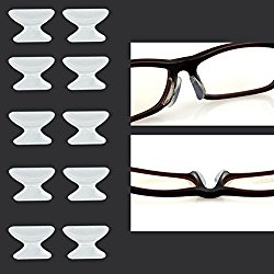 Keepons 1.8mm Anti-slip Adhesive Contoured Soft Silicone Eyeglass Nose Pads with Super Sticky Backing – 5 Pair (Clear)