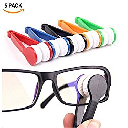 Mini Sun Glasses Eyeglass Microfiber Spectacles Cleaner Soft Brush Tool 5 Pcs Cleaning Chips Mini Microfiber Glasses Eyeglasses Cleaner (Random Color)
