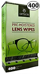 Pre-Moistened Lens Cleaning Wipes – 400 Cloths – Safely Cleans Glasses, Sunglasses, Camera Lenses, and Electronic Quickly & Efficiently – Travel – By Optix 55