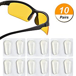 TOODOO 10 Pairs Nose Pads Adhesive Non-slip Eyeglass Pads Silicone Glass Pads for Eyeglass Spectacles, Drop Shape (Transparent, 1.8 mm)