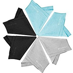 WLCMALL Extra Large Microfiber Cleaning Cloths 8 x 9 Inch -6 Pack (2 Black 2 Grey 2 Blue )