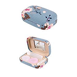 Ezeso Portable Travel Contact Lens Case Box Eye Care Kit Holder Mirror Box (plum blossom pattern)