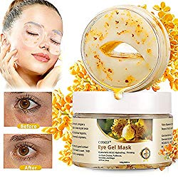 Gold Eye Mask, Collagen Eye Mask, Eye Wrinkle Pads, collagen eye pads, Hyaluronic Acid anti aging eye mask for Dark Circles, Puffiness, Wrinkles and Bags & Fine Lines – 30 Pairs