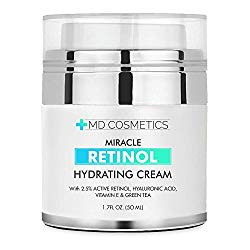 NEW FORMULA FOR 2018! MD Cosmetics Retinol Moisturizer Cream for Face and Eye Area – With Retinol, Hyaluronic Acid, VITAMIN E & Green Tea. Night and Day Moisturizing Cream 1.7 Oz