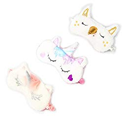 3 Pack Unicorn Sleep Mask Cute Unicorn Horn Soft Plush Blindfold Eye Cover Eyeshade for Teens Girls Women Plane Travel Nap Night Sleeping
