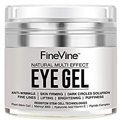 Anti Aging Eye Gel – Made in USA – for Dark Circles, Puffiness, Wrinkles, Bags, Skin Firming, Fine Lines and crows feet – The Best Natural Eye Gel for Under and Around Eyes.