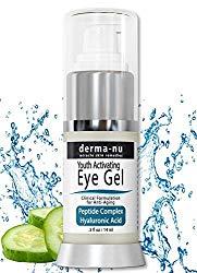 Anti Wrinkle Eye Cream Gel – Moisturizing Gel for Dark Circles Under the Eyes & Puffiness – Hyaluronic Acid Formula Infused Serum with Aloe Vera & Jojoba for Ageless Smooth Skin – .5oz