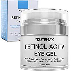 Retinol Under Eye Gel – Combo Eye Cream for Dark Circles, Eye Puffiness, Crows Feet, Eye Bags, Fine Lines – Organic Anti-Aging Wrinkle Cream – 1.7 fl oz / 50 ml