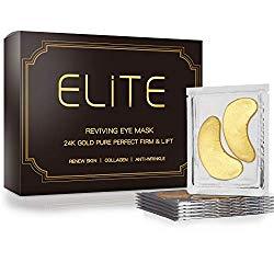 Under Eye Treatment Mask- Elite 24K Gold Gel Collagen Eye Pads |24K Gold Pads for Reducing Dark Circles| Smoothing Skin, Natural Lift | 1 Box for 2 Weeks Treatment |15 Pairs