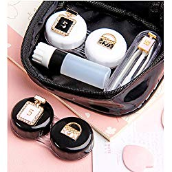 Contact Lens Cases Portable Travel Container Kit Set with Tweezers Container Holder Mirror Box-Perfume&Bag Designs-Easy Carry
