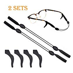 2 Sets Glasses Straps Adjustable Waterproof Eyewear Lanyard Sports 4 Anti-Slip Hooks No Tail