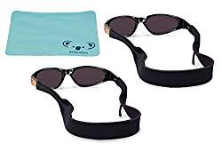 Croakies Kids Neoprene Eyewear Retainer Childrens Glasses Strap | Eyeglass and Sunglass Holder | Boys and Girls Sports Use | 2pk Bundle + Cloth, Black