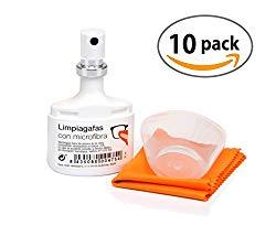 Pocket Eyeglasses Cleaner Spray kit + Microfiber Cloth, 0.70 Fluid Ounces Each (10 Pack)