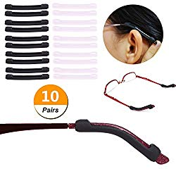 YR Anti-Slip Eyeglasses Temple Tips Sleeve Retainer, Elastic Soft Silicone Comfort Glasses Retainers For Sunglasses Reading Glasses Eyewear, Black &Clear, 10 Pairs