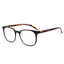 ANRRI Blue Light Blocking Computer Glasses for Anti Eyestrain Anti Glare Lens Lightweight Frame Eyeglasses, Tortoise, Men/Women