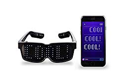 CHEMION – Customizable Bluetooth LED Glasses for Raves, Festivals, Fun, Parties, Sports, Costumes, EDM, Flashing – Display Messages, Animation, Drawings!